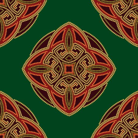 Colourful ethnic seamless pattern background in green and burgundy, orange colors, vector illustration.