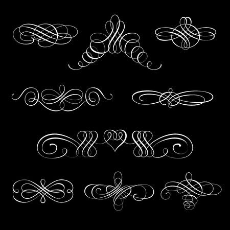 Set collection of calligraphic elements and page decorations.Can be used for decorate cards, invitations, create wallpapers, templates, border, decorate books and letters. Vector illustration.