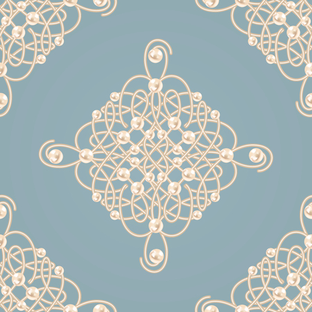 baroque pearl: Elegant golden knot sign. Blue and beige pastel seamless pattern, beautyful calligraphic flourish with pearls. Vector