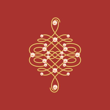 Elegant golden knot sign. Red and golden yellow illustration, beautyful calligraphic flourish with pearls. Vector 向量圖像