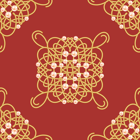 Elegant golden knot sign. Red and golden yellow seamless pattern, beautyful calligraphic flourish with pearls. Vector