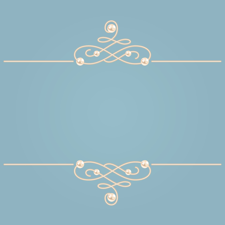 Elegant golden knot sign, Blue and beige pastel illustration, beautyful calligraphic flourish dividers with pearls.