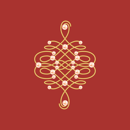 Elegant golden knot sign. Red and golden yellow illustration, beautyful calligraphic flourish with pearls. Vector illustration