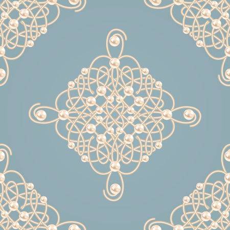 baroque pearl: Elegant golden knot sign. Blue and beige pastel seamless pattern beautyful calligraphic flourish with pearls. Vector illustration.