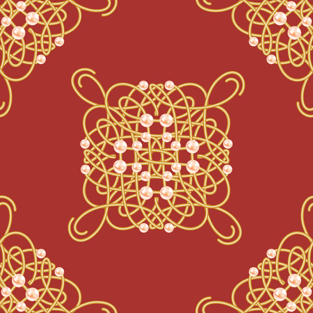 Elegant golden knot sign. Red and golden yellow seamless pattern, beautyful calligraphic flourish with pearls. Vector illustration