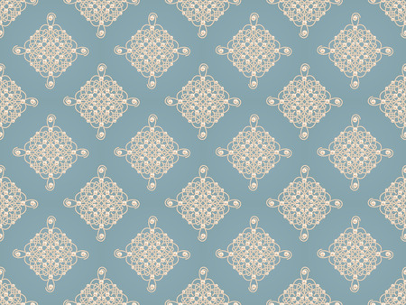 baroque pearl: Elegant golden knot sign. Blue and beige pastel seamless pattern beautyful calligraphic flourish with pearls. Raster illustration.
