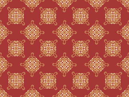 Elegant golden knot sign. Red and golden yellow seamless pattern, beautyful calligraphic flourish with pearls. Raster illustration