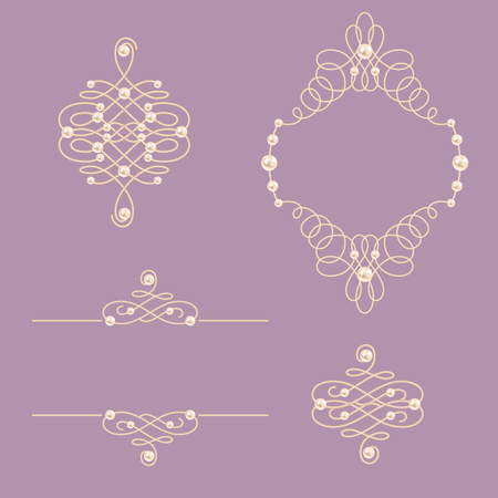 baroque pearl: Set collection of elegant golden knot frame, signs ,dividers on purple background. For little princess, glamour girl and woman. Vector illustration.