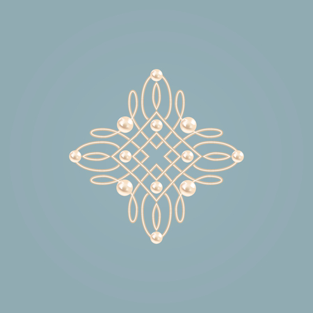 baroque pearl: Elegant golden knot sign.. Blue and beige pastel illustration, beautyful calligraphic flourish with pearls. Vector