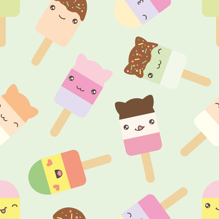 glaze: Seamless pattern of cute kawaii style ice cream bars . Decorative bright colorful design elements in doodle Japanese style isolated on green background. Vector illustration.