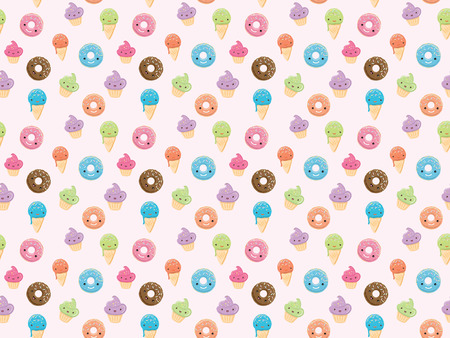 glaze: Seamless pattern with sweets in kawaii style. Ice cream, donuts, cupcakes isolated on pastel pink background. Can use for birthday card, the childrens menu, packaging, textiles, fabrics, wallpaper Stock Photo
