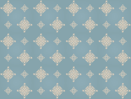 baroque pearl: Elegant golden knot signs. Blue and beige pastel seamless pattern beautyful calligraphic flourish with pearls. Raster illustration.
