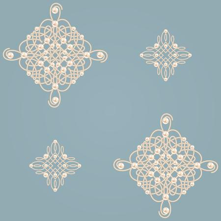 baroque pearl: Elegant golden knot signs Illustration