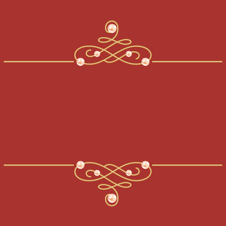 Elegant golden knot sign. Burgundy red illustration, beautiful calligraphic flourish dividers with pearls. Can be used for decorate cards, wedding invitations, border, decorate books. Vector