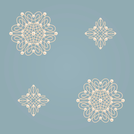 baroque pearl: Elegant golden knot signs. Blue and beige pastel seamless pattern beautiful calligraphic flourish with pearls. Vector illustration.