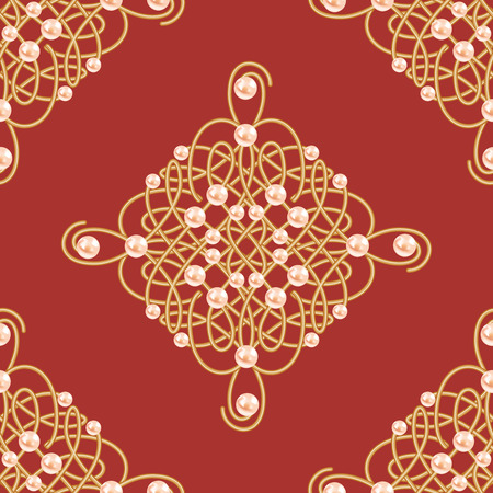 Elegant golden knot sign. Red and golden seamless pattern, beautiful calligraphic flourish with pearls. Vector illustration