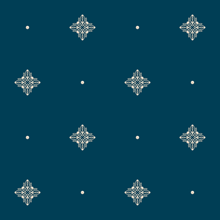baroque pearl: Elegant golden knot signs. Deep blue seamless pattern beautiful calligraphic flourish with pearls. Vector illustration.