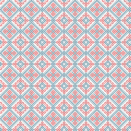 ethnic seamless pattern background, vector illustration traditional textures in red, blue and white colors