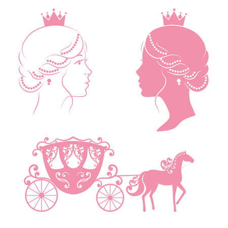 Profile silhouette of a princess and carriage with horse in pink color isolated on white background. Vintage royal set collection. Vector illustration.