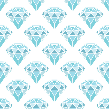 Seamless pattern of geometric blue diamonds on white background. Trendy hipster crystals design. Vector illustration. Reklamní fotografie - 84571886