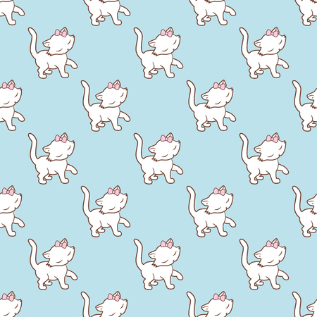 Seamless pattern with cute kitties stickers isolated on blue background. Vector illustration.