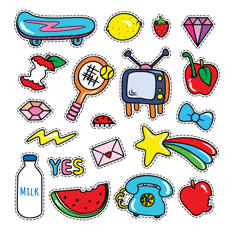 Stickers collections, isolated with black stitched strokes on white purple background. Trendy fashion chic patches, pins, badges design set in cartoon 80s-90s comic style. Vector illustration.