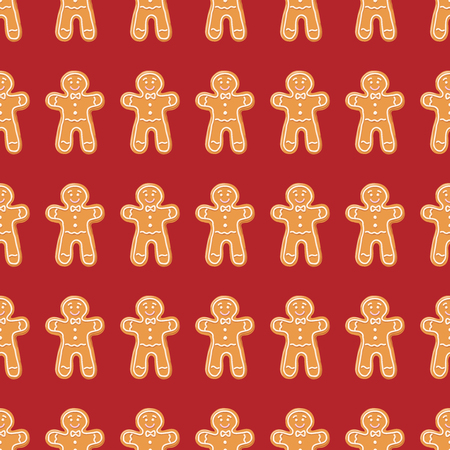 Christmas gingerbread seamless pattern. Ginger cookies on red background. Vector illustration. Cute Xmas background for wallpaper, gift paper, pattern fills, textile, greetings cards