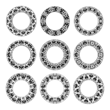 Ethnic set collection. Antique floral borders in black color on the white background. Greek round frames. Vector illustration