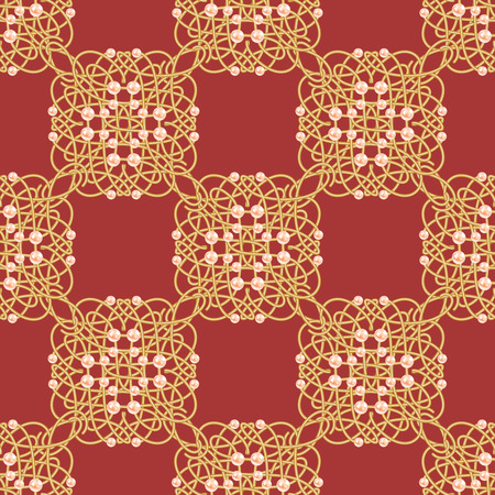 Red and golden yellow seamless pattern