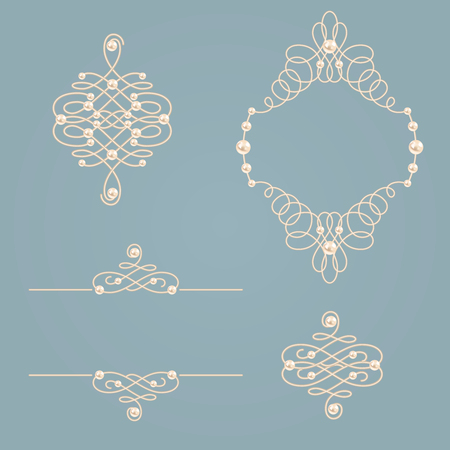 baroque pearl: Set collection of frame, signs ,dividers on vintage gray blue background.