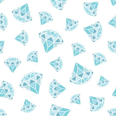 A Seamless pattern of geometric blue diamonds on white background.