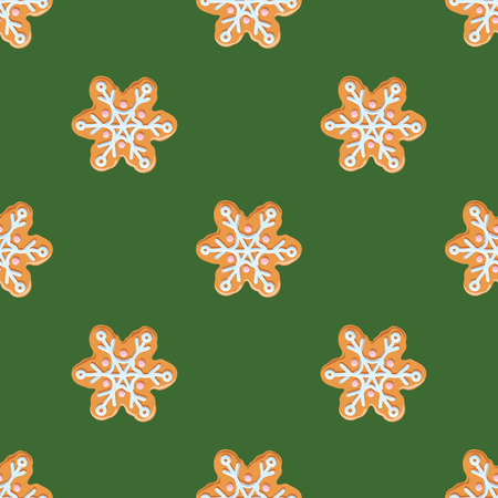 Christmas gingerbread seamless pattern on green background.