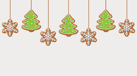 Hanging gingerbread snowflakes and Christmas trees cookies. Illustration