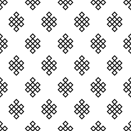 Seamless pattern of the endless knot or eternal knot. Black and white ethnic background.