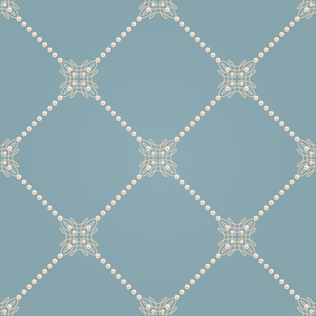 baroque pearl: Elegant knot sign. Blue and beige pastel seamless pattern beautiful calligraphic flourish with diagonal lines of pearls. Vector illustration.