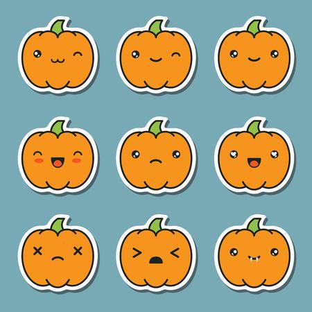 Set Collection Of Halloween Kawaii Cute Pumpkin Stickers Isolated