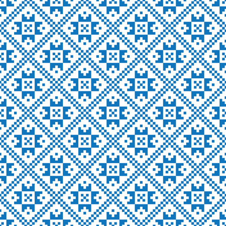 Traditional scandinavian pattern. Nordic ethnic seamless background. Textures in blue and white colors. Vector illustration. Can use for warm clothes design, Christmas and new year background