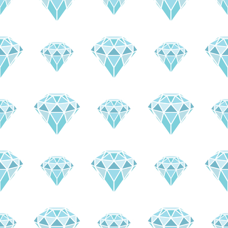Seamless pattern of geometric blue diamonds on white background. Trendy hipster crystals design. Vector illustration. Ilustrace