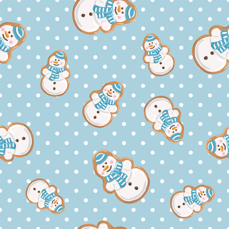 Christmas gingerbread cookies on polka dot blue background seamless pattern vector illustration.