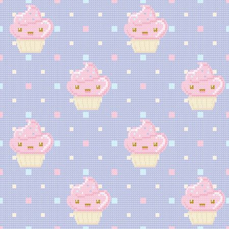 Knitted seamless pattern with cupcakes on purple polka dot background. Vector illustration. Can be used for birthday card, the cafes menu, packaging, textiles, fabrics, wallpaper