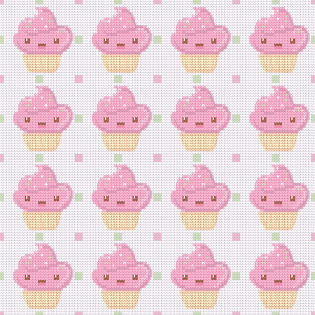 Knitted seamless pattern with cupcakes on white polka dot background. Vector illustration. Can be used for birthday card, the cafes menu, packaging, textiles, fabrics, wallpaper