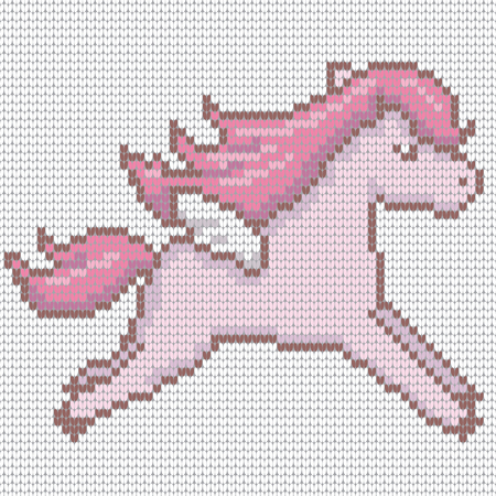 Knitted cute kawaii style pegasus in pink color. Vector illustration.
