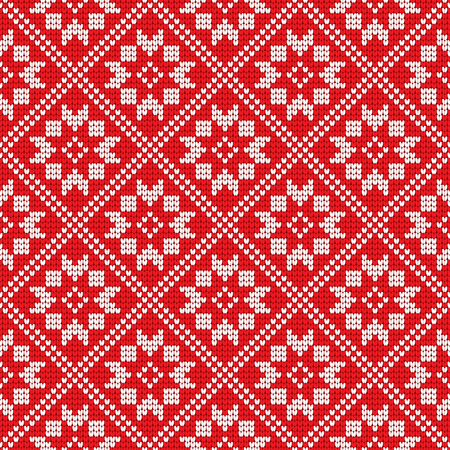 Traditional scandinavian pattern. Nordic ethnic seamless knitted background. Textures in red and white colors. Vector illustration. Can use for warm clothes design, Christmas and new year background Illustration