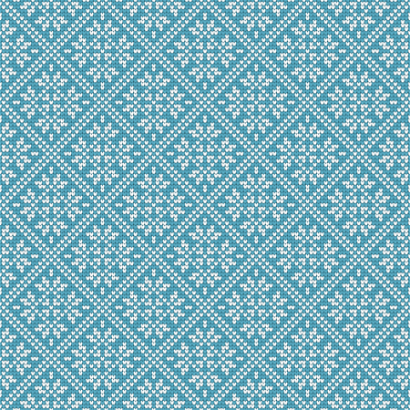 Nordic ethnic knitted seamless pattern. Textures in green blue and white colors. Vector illustration. Can use for warm clothes design, Christmas and new year background Иллюстрация