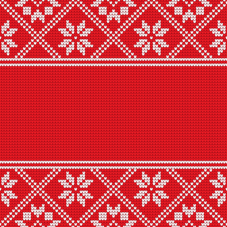 Knitting effect background in red and white colors. Horizontal frame for your text or photo. Vector illustration.