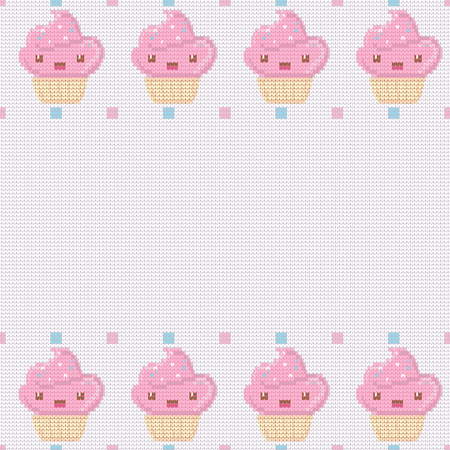 Knitted white background for your text with pink kawaii cupcakes . Vector illustration.Can be used for birthday card, the cafes menu, banners