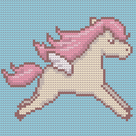 Knitted cute kawaii style pegasus in beige and pink color on blue. Vector illustration.