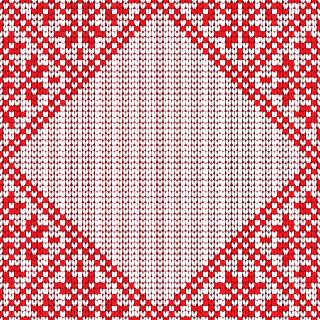 Knitting effect background in red and white colors. Diamond-shaped frame for your text or photo. Vector illustration.