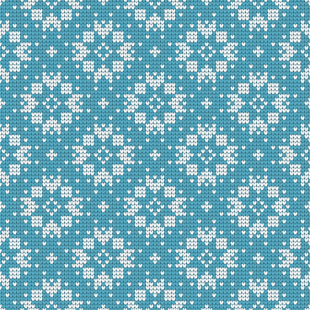 Nordic ethnic knitted seamless pattern. Textures in blue and white colors. Vector illustration. Can use for warm clothes design, Christmas and new year background