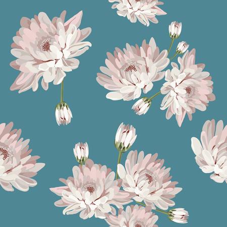 Floral pattern sans soudure. Chrysanthèmes sur fond bleu. Illustration vectorielle Banque d'images